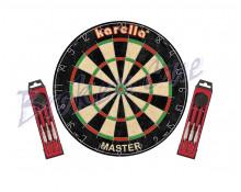 """Karella """"MASTER"""" Wettkampf-Dartboard + 2x Steeldarts ST-1"""